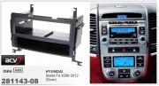 Переходная рамка ACV 281143-08 для Hyundai Santa Fe 2006-2012, 1DIN