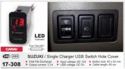 USB разъем (интерфейс) с цифровым вольтметром Carav 17-308 в штатную заглушку для автомобилей Suzuki